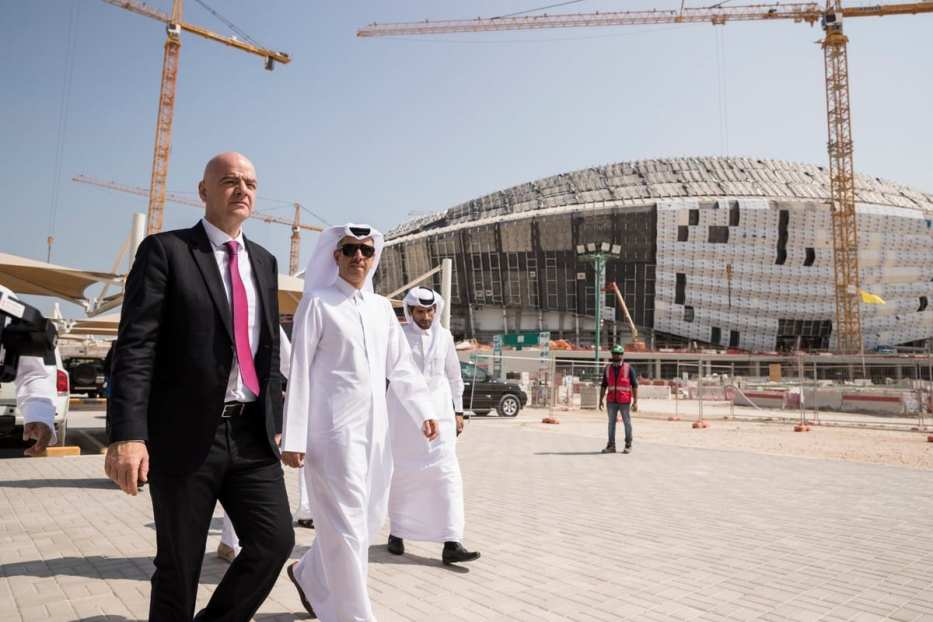FIFA President Gianni Infantino (L) inspects Al Wakrah Stadium, which is under construction within the preparations of 2022 FIFA World Cup, during his visit in Doha, Qatar on 23 October 2018 [Qatar 2022 Local Organizing Committee/Anadolu Agency]