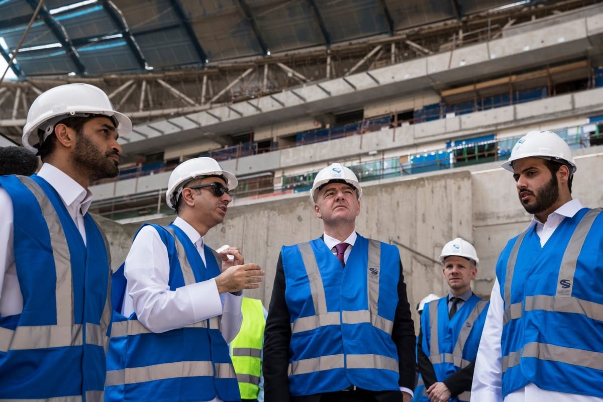 FIFA President Gianni Infantino (C) inspects Al Wakrah Stadium, which is under construction within the preparations of 2022 FIFA World Cup, during his visit in Doha, Qatar on 23 October, 2018. [Qatar 2022 Local Organizing Committee/Handout - Anadolu Agency]