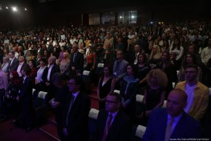 Attendees at the launch of the annual Palestine Cinema Days festival at the Cultural Palace in the occupied West Bank city of Ramallah [Hamde Abu Rahma/Middle East Monitor]