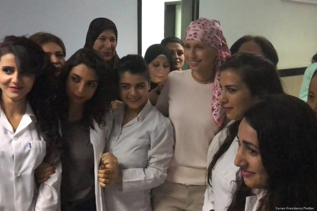 Wife of President Bashar Al-Assad, Asma, is seen undergoing chemotherapy for breast cancer on 25 October 2018 [Syrian Presidency/Twitter]