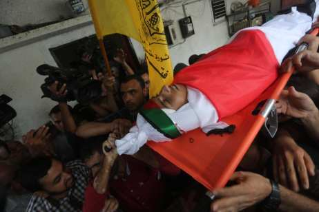 Ahmad Samir Abu Habel's funeral. He was shot in the head by Israeli forces [Mohammed Asad/Middle East Monitor]