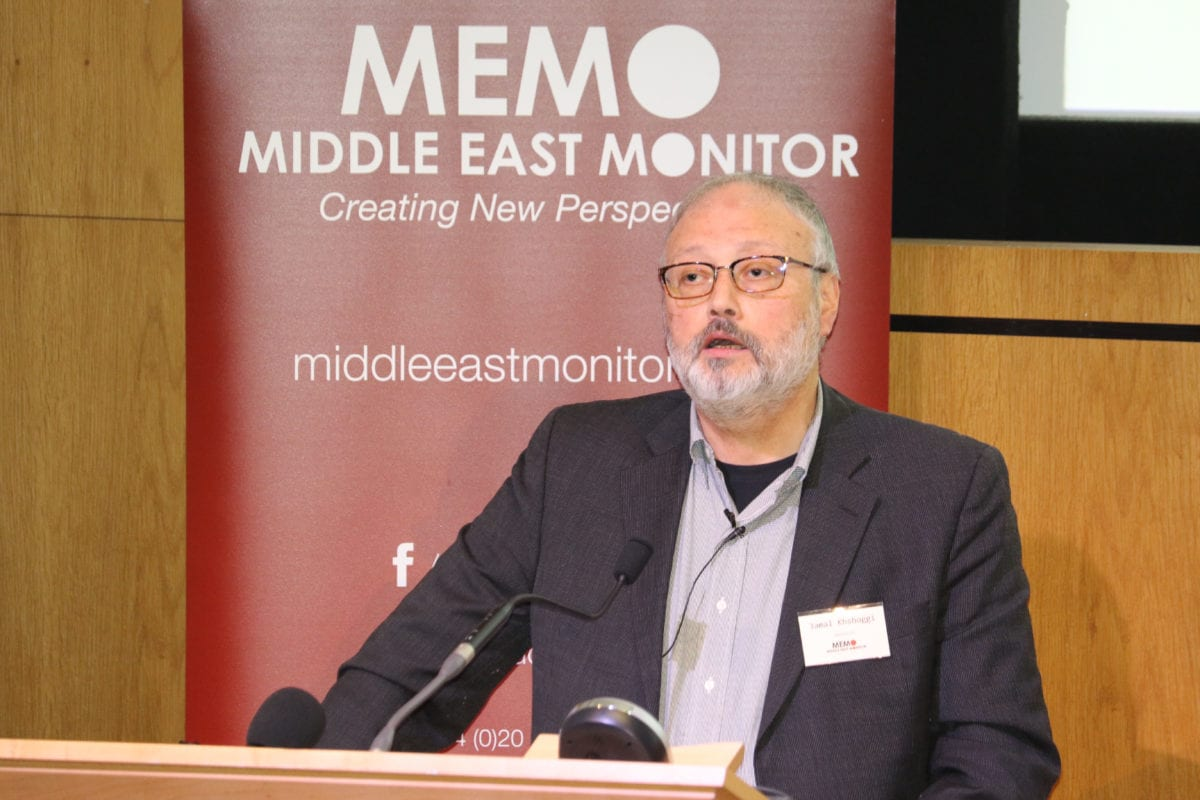 Jamal Khashoggi speaking at Middle East Monitor's 'Oslo at 25' conference held in London on September 29, 2018 [Jehan Alfarra / Middle East Montitor]
