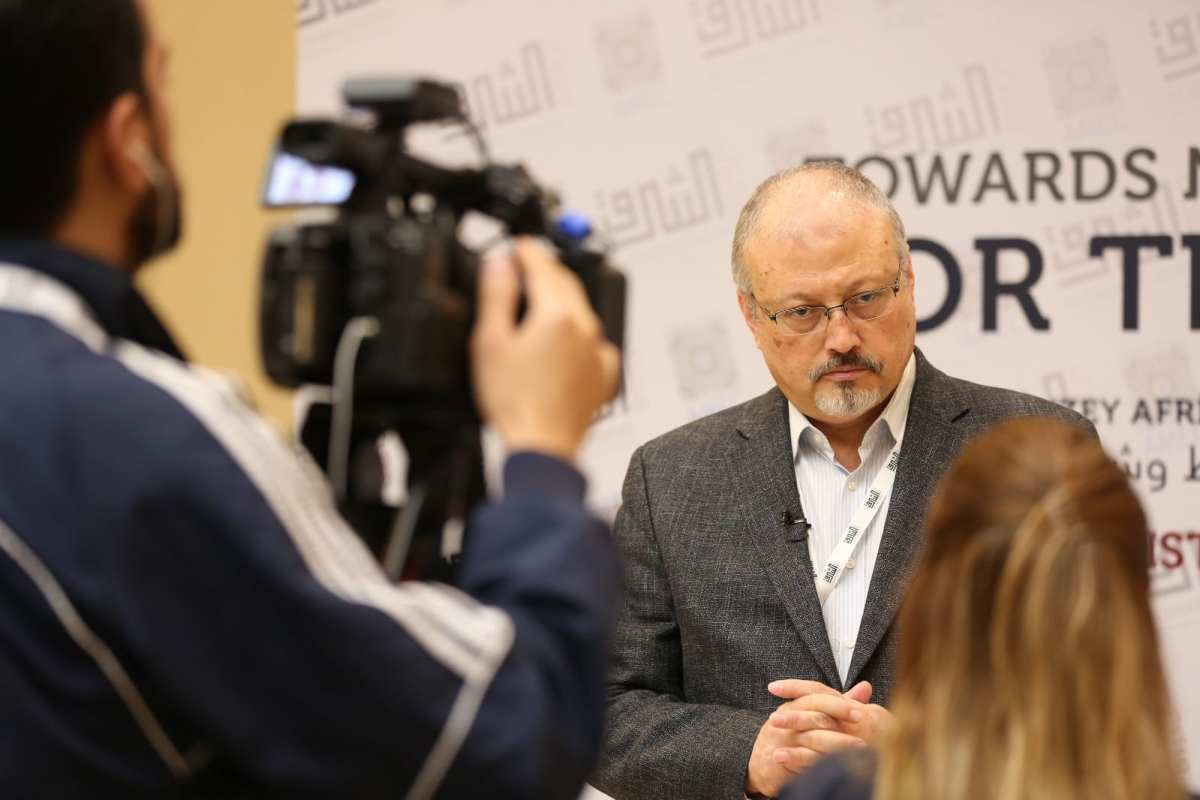 Jamal Khashoggi speaking at AlSharq Forum conference [AlSharq Forum]