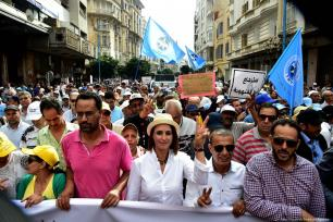 Moroccans come together to protest against corruption and bribery in Casablanca, Morocco on 14 October 2018 [Jalal Morchidi/Anadolu Agency]