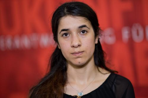 Human rights activist and 2018 Nobel Prize, Nadia Murad Bansee Taha in Germany on 31 May 2016 [Apaimages]