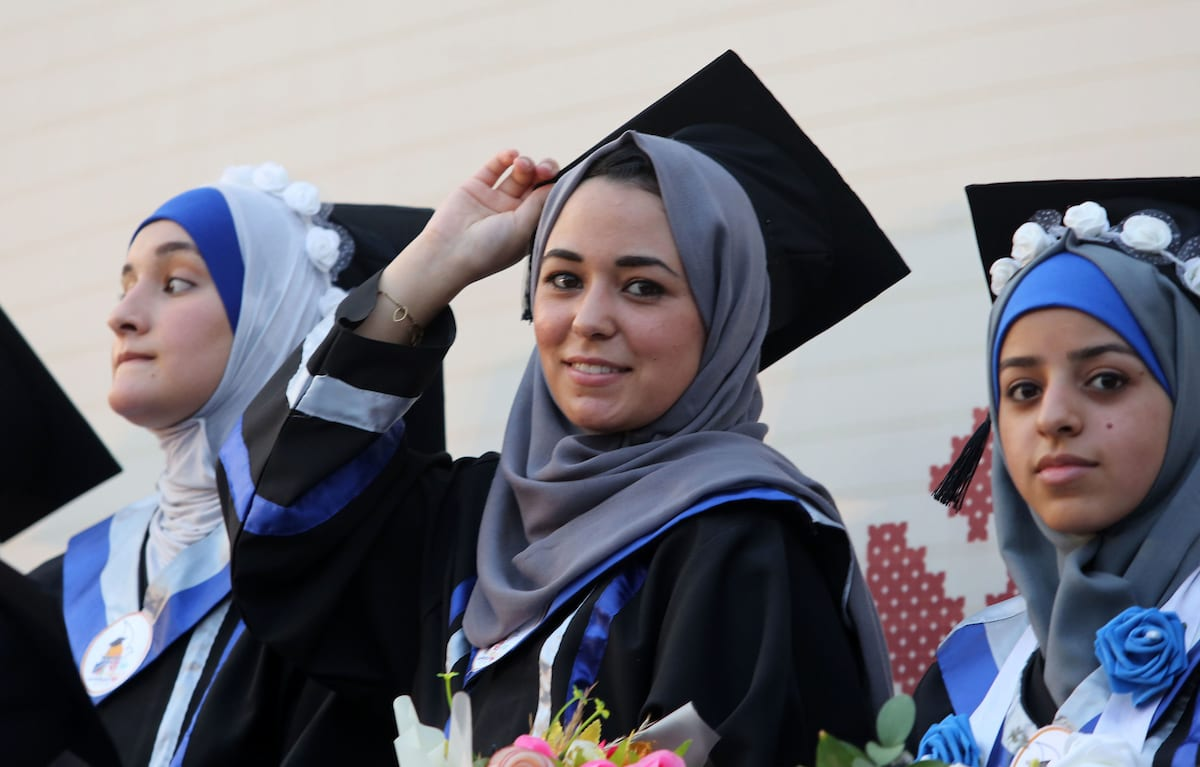 Palestinian students celebrate during their graduation ceremony on 1 September 2018 [Atia Darwish/Apaimages]