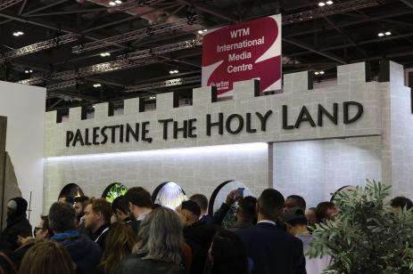 The Separation Wall was featured at the World Travel Market at London's Excel event centre on 6 November, 2018, marking the first time Banksy has participated in a travel exhibition [Rebecca Stead/Middle East Monitor]
