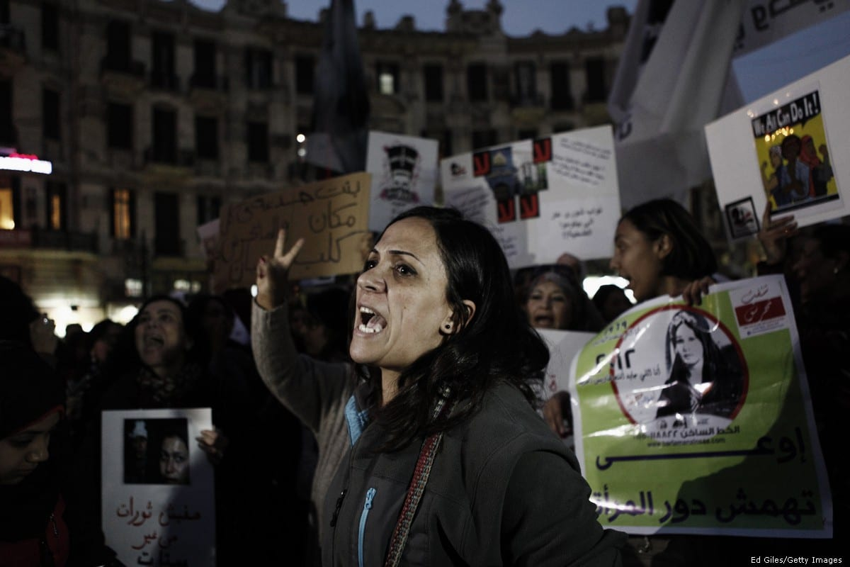 Egyptian women protesters against sexual harassment in Cairo, Egypt on 12 February 2013 [Ed Giles/Getty Images]