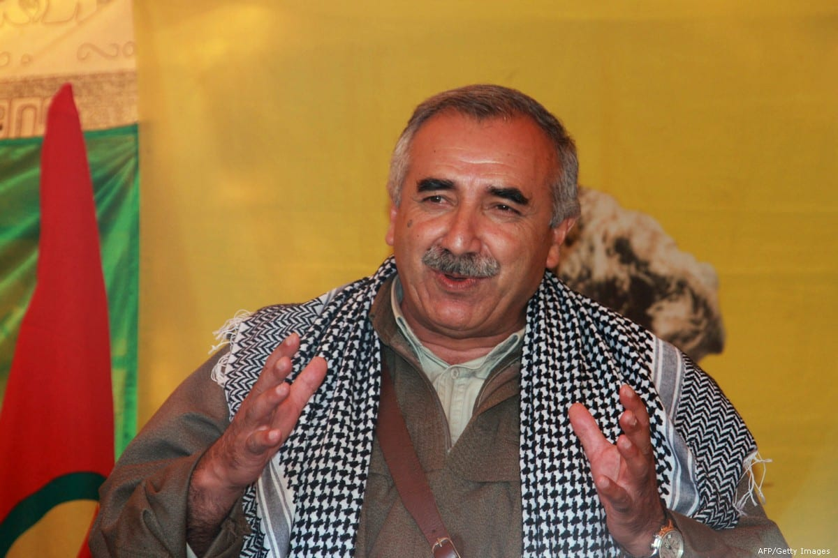 Kurdistan Workers' Party (PKK) leader, Murat Karayilan gives a speech on 25 April 2013 [AFP/Getty Images]