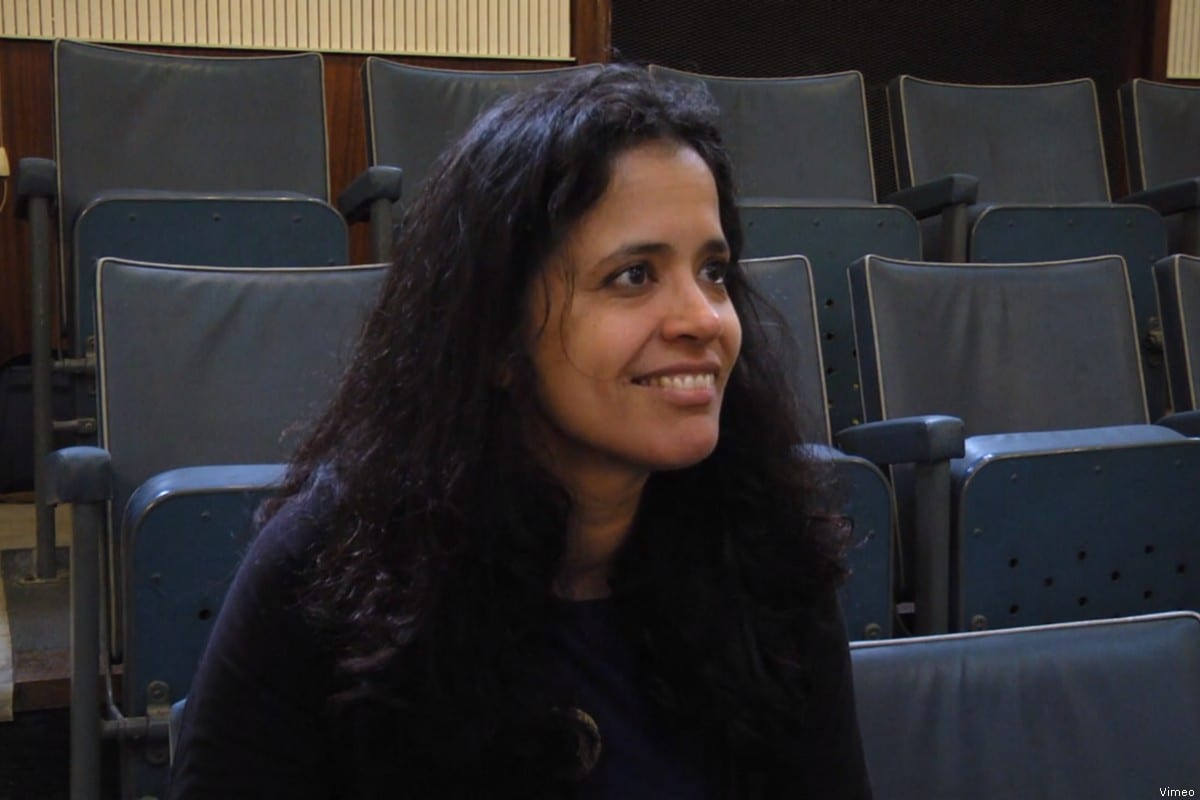 Screenshot of Dr Anandi Ramamurthy, Lecturer in Reader in Post-Colonial Cultures at Sheffield Hallam University, 20 November 2018 [Vimeo]