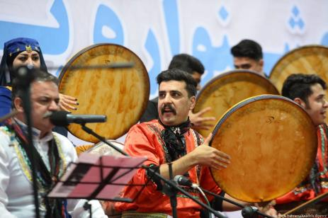 These musicians and artists perform traditional music in celebration of tribe unity and the Prophet Mohammed Iran, 20 November 2018 [Fatemeh Bahrami/Anadolu Agency]