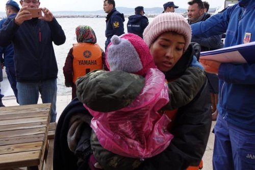 Irregular migrants are brought to Ayvalik Coast Guard Command in Balikesir's Cunda island after rescued by members of Turkish Coast Guard Command on November 19, 2018 in Balikesir, Turkey. Turkish Coast Guard on Monday rescued all 44 irregular migrants, including women and children, stranded in Yumurta Island in Aegean town of Ayvalik district of the western Balikesir province, during the rescue operation, sources said. ( Hakan Firik - Anadolu Agency )