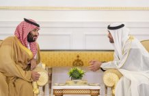 Crown Prince and Defense Minister of Saudi Arabia Mohammad bin Salman al-Saud (L) is welcomed by Crown Prince of Abu Dhabi Mohammed bin Zayed Al Nahyan with an official ceremony at Abu Dhabi Airport in Abu Dhabi, UAE on 22 November 2018 [BANDAR ALGALOUD/Anadolu Agency]