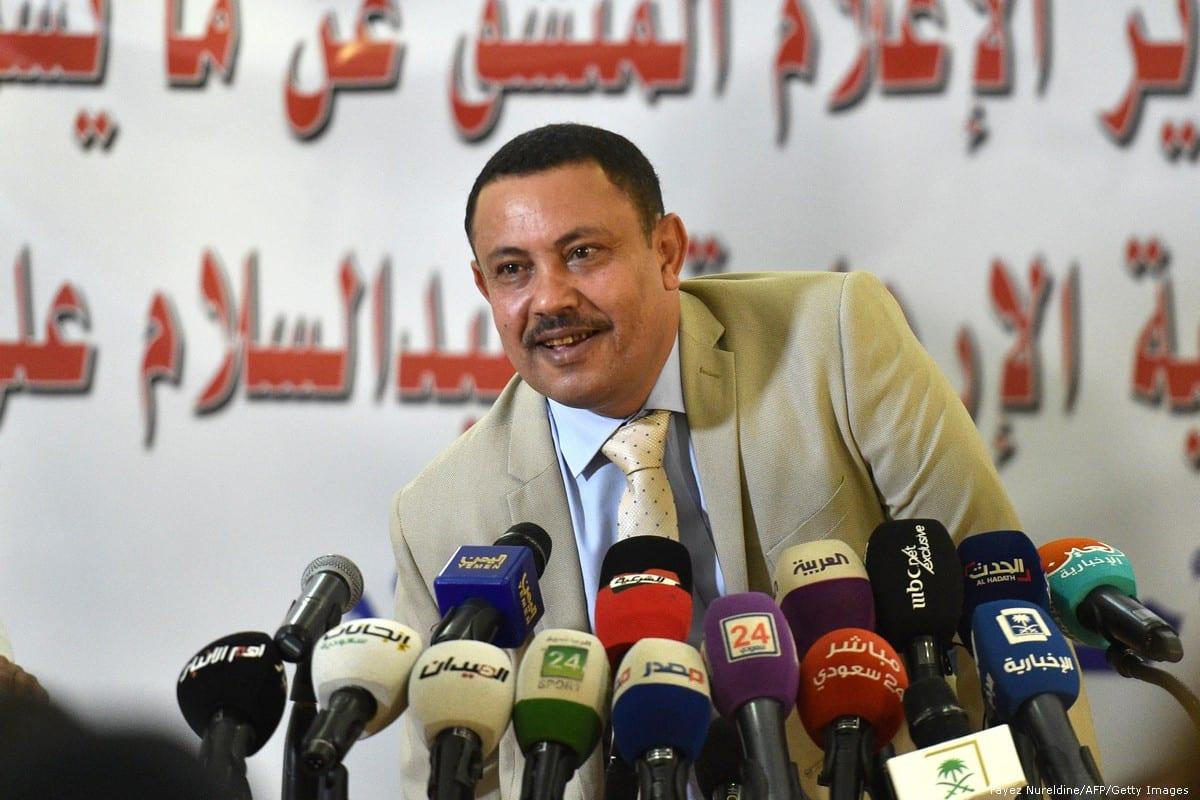 Former Houthi militia Information Minister Abdul Salam Ali Jaber gives a press conference at the Yemen's embassy in Riyadh, Saudi Arabia on 11 November 2018 [Fayez Nureldine/AFP/Getty Images]