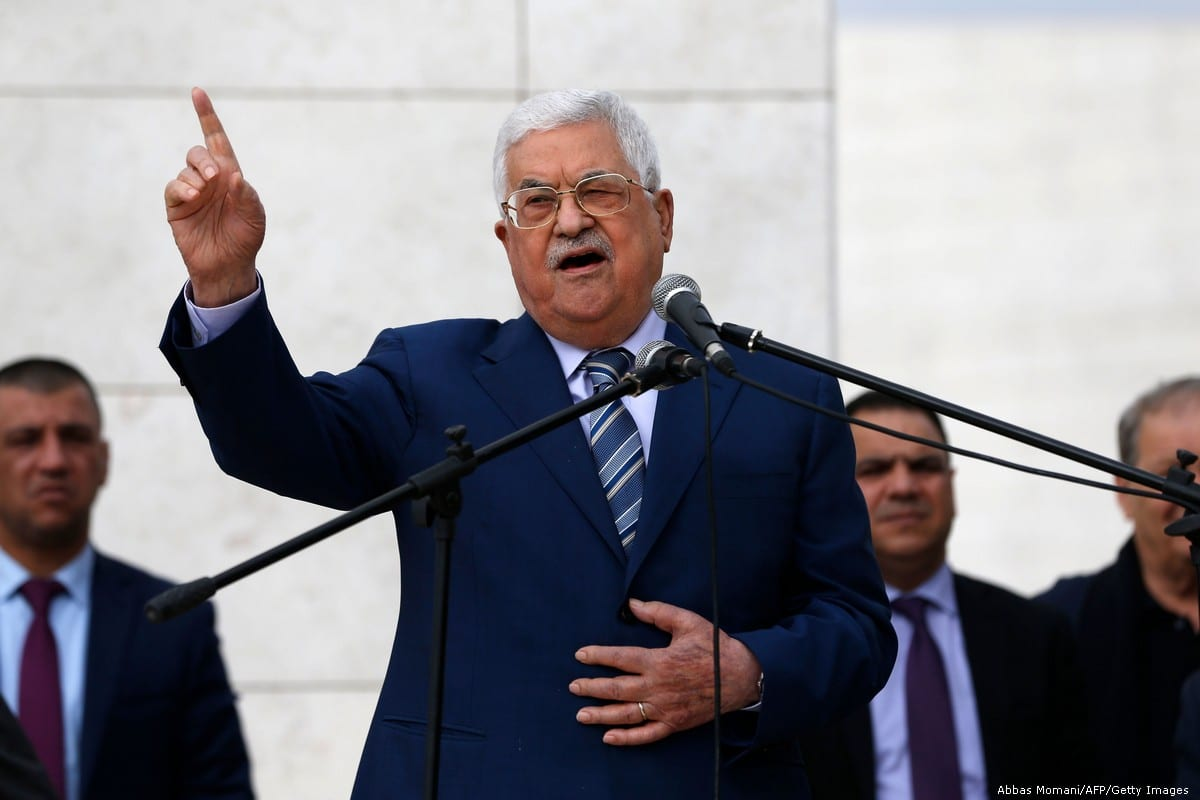 Palestinian President Mahmoud Abbas gives a speech to mark the 14th anniversary of the death of former president Yasser Arafat on 11 November 2018 [Abbas Momani/AFP/Getty Images]