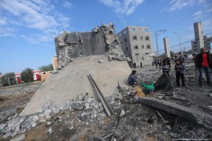 The rubble left by the air strikes carried out by Israel in the Gaza Strip on 11 November 2018 [Mohammed Asad/Middle East Monitor]