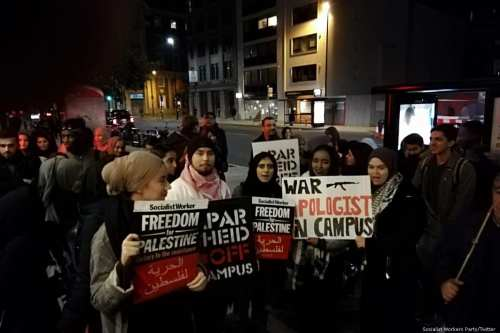 Students from City University protest against the talk of Israeli Ambassador Mark Regev in London, UK on 21 November 2018 [Socialist Workers Party/Twitter]