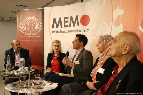 Tareq Baconi, Maha Nasser and Reja-e Busailah discuss their work at the Palestine Book Awards pre-launch event on 15 November 2018 [Abdelrahman Said/Middle East Monitor]