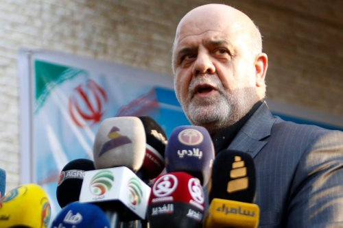 Iranian ambassador in Iraq Iraj Masjedi gives a press conference outside the new building of the Iranian consulate in the southern city Iraqi city of Basra on September 11, 2018 (Photo by HAIDAR MOHAMMED ALI/AFP/Getty Images)