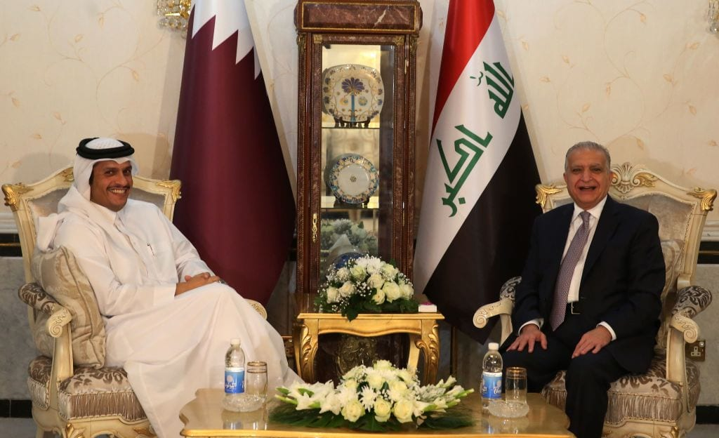 Iraqi Foreign Minister Mohammed Ali al-Hakim (R) meets his Qatari counterpart Mohammed bin Abdulrahman Al-Thani in the Iraqi capital Baghdad on November 7, 2018. (Photo by AHMAD AL-RUBAYE / AFP / Getty Images)