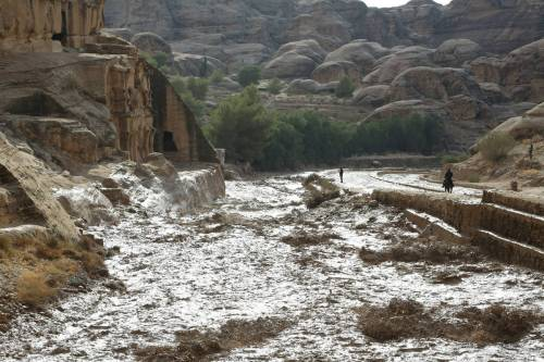 This picture taken on November 9, 2018, in Petra, western Jordan, shows the effects of the flash floods that killed several people across the region [AFP/Getty Images]
