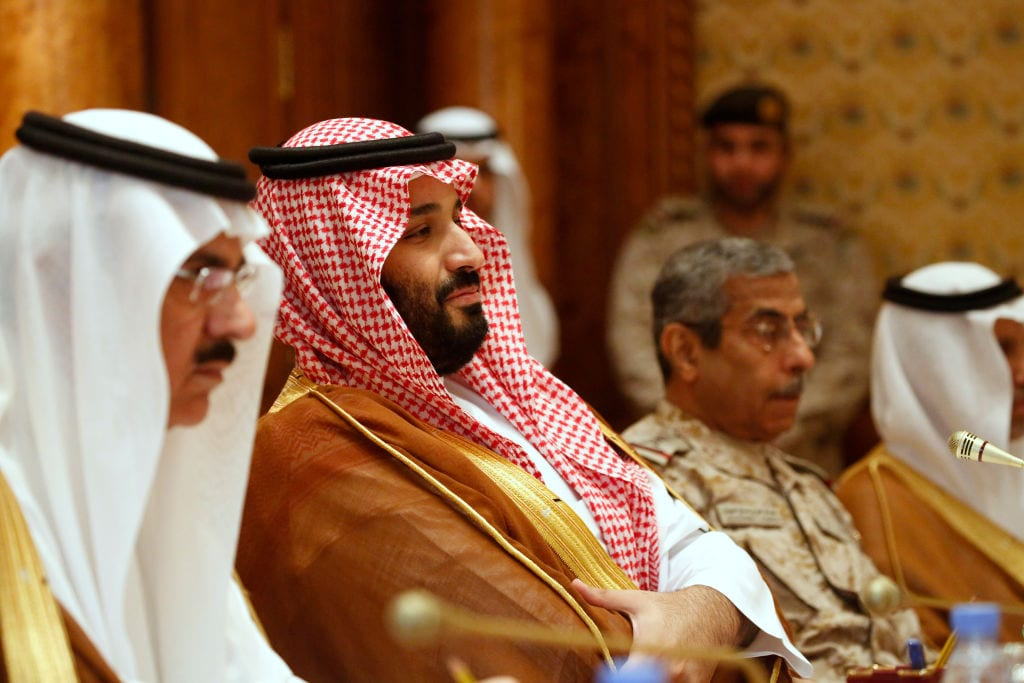 Saudi Arabia's Deputy Crown Prince and Defense Minister Mohammed bin Salman (2nd L) takes his seat to meet with U.S. Defense Secretary James Mattis and his delegation on 19 April, 2017 in Riyadh, Saudi Arabia [Jonathan Ernst/Getty Images]