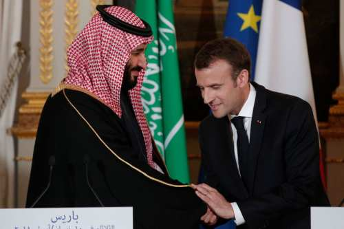 French President Emmanuel Macron (R) shakes hands with Saudi Arabia's Crown Prince Mohammed bin Salman (L) at the end of a joint press conference at the Elysee Palace in Paris on April 10, 2018. ( Photo by YOAN VALAT/AFP/Getty Images)