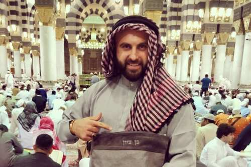 Russian-born Israeli citizen Ben Tzion seen at the Islam's second holiest site, the Prophet's Mosque in Medina, Saudi Arabia, on November 16, 2017 [Facebook / Ben Tzion]