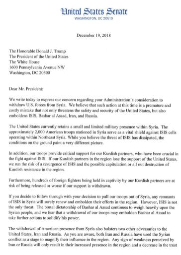 Statement by US Senate on Trump's Syria withdrawal, on 19 December 2018. [Twitter]