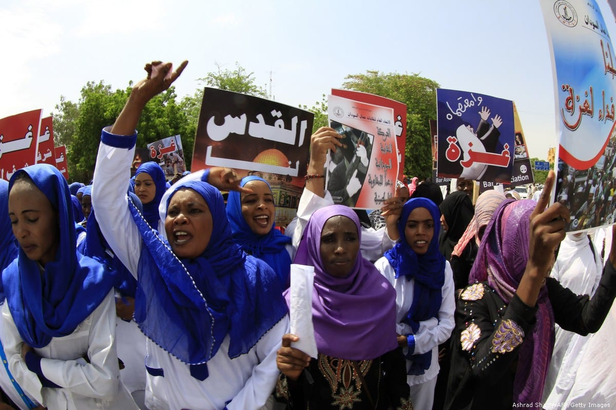 Sudanese protests against Israel's military offensive on the Gaza Strip, on 11 August 2014 [Ashrad Shazly/AFP/Getty Images]