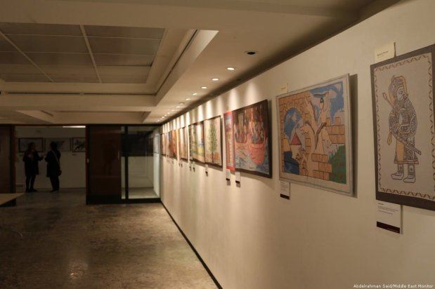 Artwork at the Palestinian History Tapestry event is displayed at P21 Gallery in London on 11 December 2018 [Abdelrahman Said/Middle East Monitor]