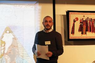 Speaker Ibrahim Muhtadi at the Palestinian History Tapestry Event in London [Middle East Monitor]