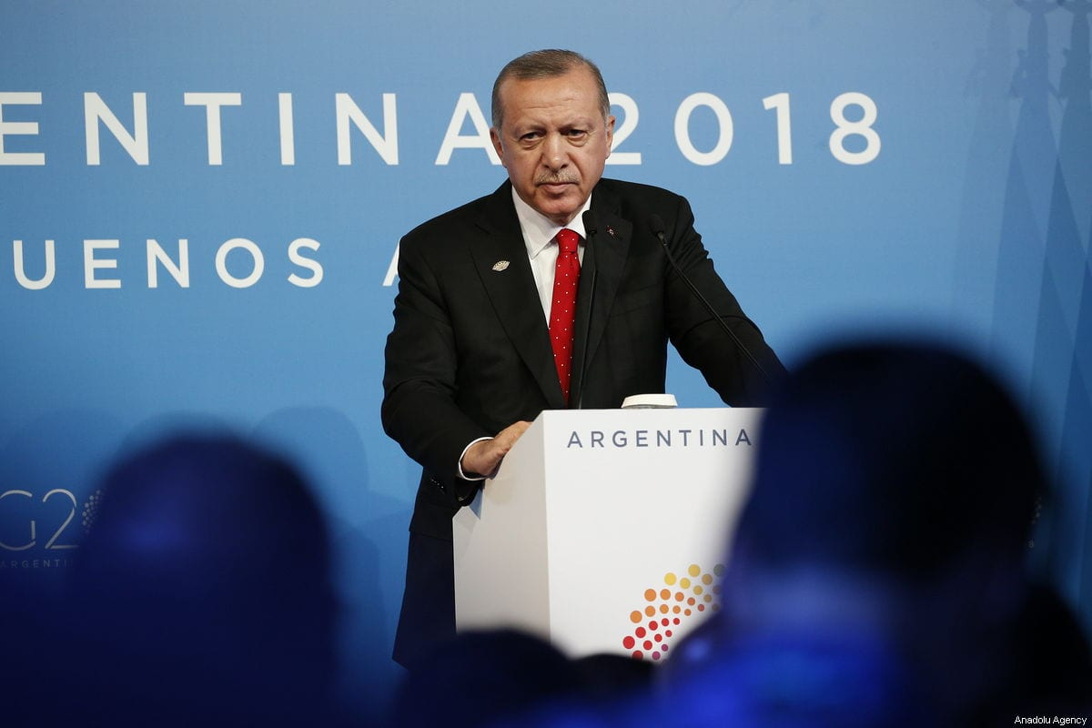 President of Turkey Recep Tayyip Erdogan makes a statement as he holds a press conference within the G20 Leaders' Summit in Buenos Aires, Argentina on December 01, 2018 [Murat Kaynak / Anadolu Agency]