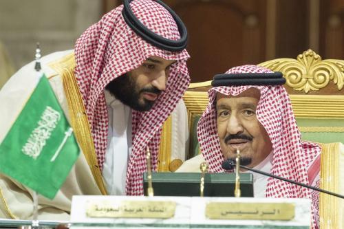 King of Saudi Arabia, Salman bin Abdulaziz Al Saud (R) and Crown Prince of Saudi Arabia Mohammad Bin Salman (L) in Riyadh, Saudi Arabia on 9 December 2018 [Bandar Algaloud/Anadolu Agency]
