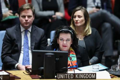 United Kingdom Ambassador to the United Nations Karen Pierce, makes a speech during the UN Security Council meeting on Yemen at the United Nations Headquarters in New York, United States on 14 December, 2018 [Atılgan Özdil/Anadolu Agency]