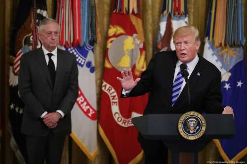 US President Donald Trump (R) and former Secretary of Defence James Mattis (L) on 25 October 2018 in Washington, DC [Chip Somodevilla/Getty Images]