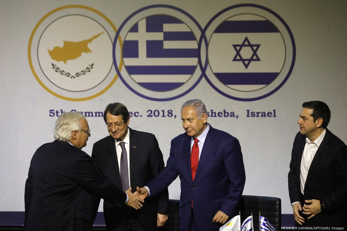 US Ambassador to Israel David Friedman (L) Israeli Prime Minister Benjamin Netanyahu, Cypriot President Nicos Anastasiades (2L) and Greek Prime Minister Alexis Tsipras (R), during the 5th Israel-Greece-Cyprus summit on 20 December 2018 []