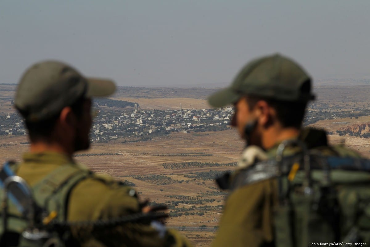 Israeli soldiers at an army base in the Israeli-annexed Syrian Golan Heights on 7 July 2018 [JALAA MAREY/AFP/Getty Images]