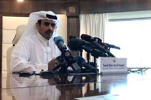 Saad Sherida Al-Kaabi, Qatari Minister of State for Energy Affairs, speaks during a press conference in the capital Doha on December 3, 2018. (Photo ANNE LEVASSEUR/AFP/Getty Images)