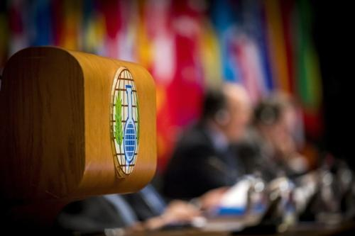A picture taken in The Hague, on June 26, 2018 shows the logo of the Organization for the Prohibition of Chemical Weapons (OPCW) during the beginning of an extraordinary session of member-states [JERRY LAMPEN/AFP/Getty Images]