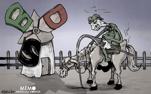 Powerless Israel facing BDS - Cartoon [Sabaaneh/MiddleEastMonitor]