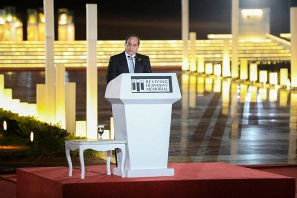 Egypt's President Abdel-Fattah al-Sisi speaks during the opening ceremony of the World Youth Forum in Sharm el-Sheikh on November 2, 2018. (Photo by PEDRO COSTA GOMES/AFP/Getty Images)