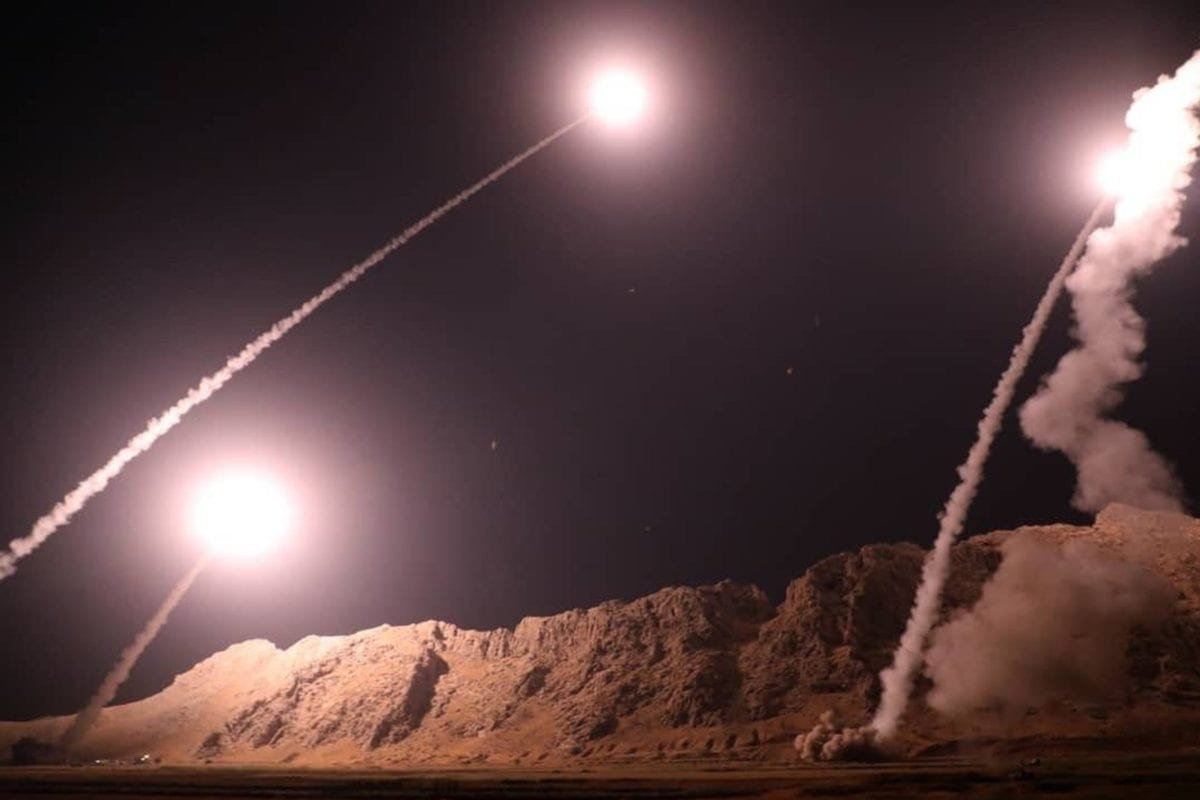 Zulfiqar and Qiam ballistic missiles, targeting Syria, are launched by Irans Revolutionary Guard in Kermanshah, Iran on October 01, 2018 [SepahNews / Handout/Anadolu Agency]