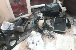 Smashed camera in Palestine TV station office [Quds News/Twitter]