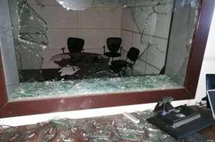Wrecked office of TV station in Palestine [Shebab Agency]
