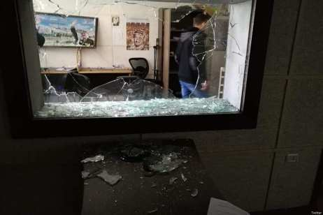 "Anonymous masked assailants broke into the headquarters of Palestine tv in #Gaza assaulting the workers and destroying the surveillance cameras and devices and equipment and the studios of ""Voice of Palestine"" Radio station. [JS Committee/Twitter]"