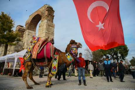 """IZMIR, TURKEY - JANUARY 19: A camel is seen during the 8th """"Fanciest Camel"""" competition organized within the 37th Traditional Selcuk Efes Camel Wrestling Festival at Selcuk Station Square in Turkey on 19 January 2019 [Emin Mengüarslan/Anadolu Agency]"""