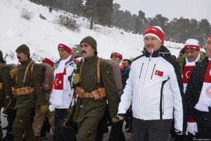 "Turkish Interior Minister Suleyman Soylu (R) attends the ""Turkey Marches with Martyrs"" event held to commemorate the martyrs of the World War I Battle of Sarikamish, in Kars, Turkey on January 06, 2019 [Hüseyin Demirci / Anadolu Agency]"