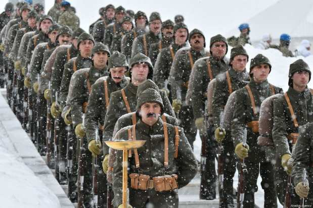 """The """"Turkey Marches with Martyrs"""" event held to commemorate the martyrs of the World War I Battle of Sarikamish, in Kars, Turkey on January 06, 2019 [Hüseyin Demirci / Anadolu Agency]"""