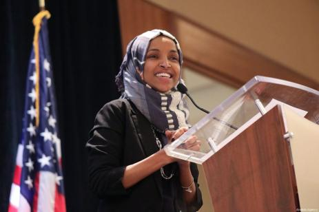 US congresswoman-elect Ilhan Omar of Minnesota delivers a speech at the event that was held by Council on American-Islamic Relations (CAIR) in Washington DC, United States on January 10, 2019 [Safvan Allahverdi / Anadolu Agency ]